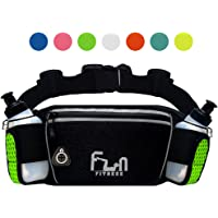 HYDRATION RUNNING BELT with Water Bottles 175ml - Waist Bag for Jogging, Hiking, Biking - Fitness Fanny Pack for Outdoors and Sports, with Waterproof Pocket for iPhone, iPod, Samsung & all Smartphones