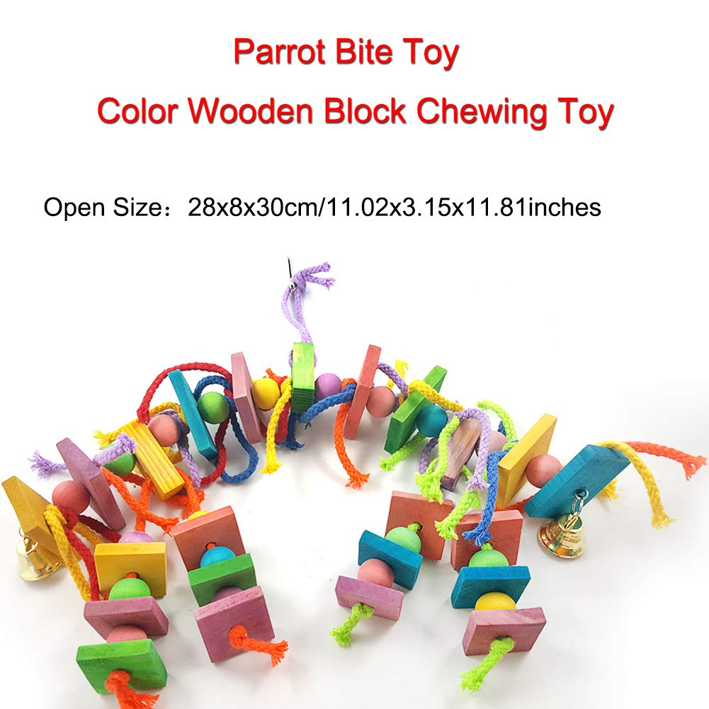 Bird Parrot Toys, CJRSLRB Wooden Block Parrot Bite Toy Chewing Toy for Small and Medium Parrots and Birds