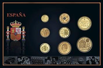 Monedas antiguas españolas - Pesetas bañadas en oro 24k: Amazon.es: Juguetes y juegos