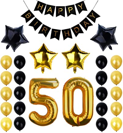 "50th Birthday Party Decorations Kit, Happy Birthday Banner, ""50"" Gold Number Balloons and Latex & Star Foil Balloons, Perfect 50th Years Old Party Supplies"
