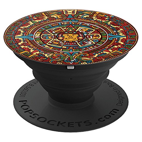 - Aztec Calendar Mexican Art Sun Stone Ancient Mayans - PopSockets Grip and Stand for Phones and Tablets