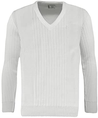 Mens Green Play Premium Ribbed V Neck White Jumper / Sweater ...