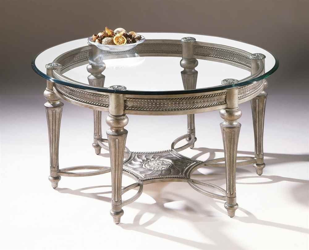 amazoncom magnussen galloway collection round cocktail table with glass kitchen u0026 dining