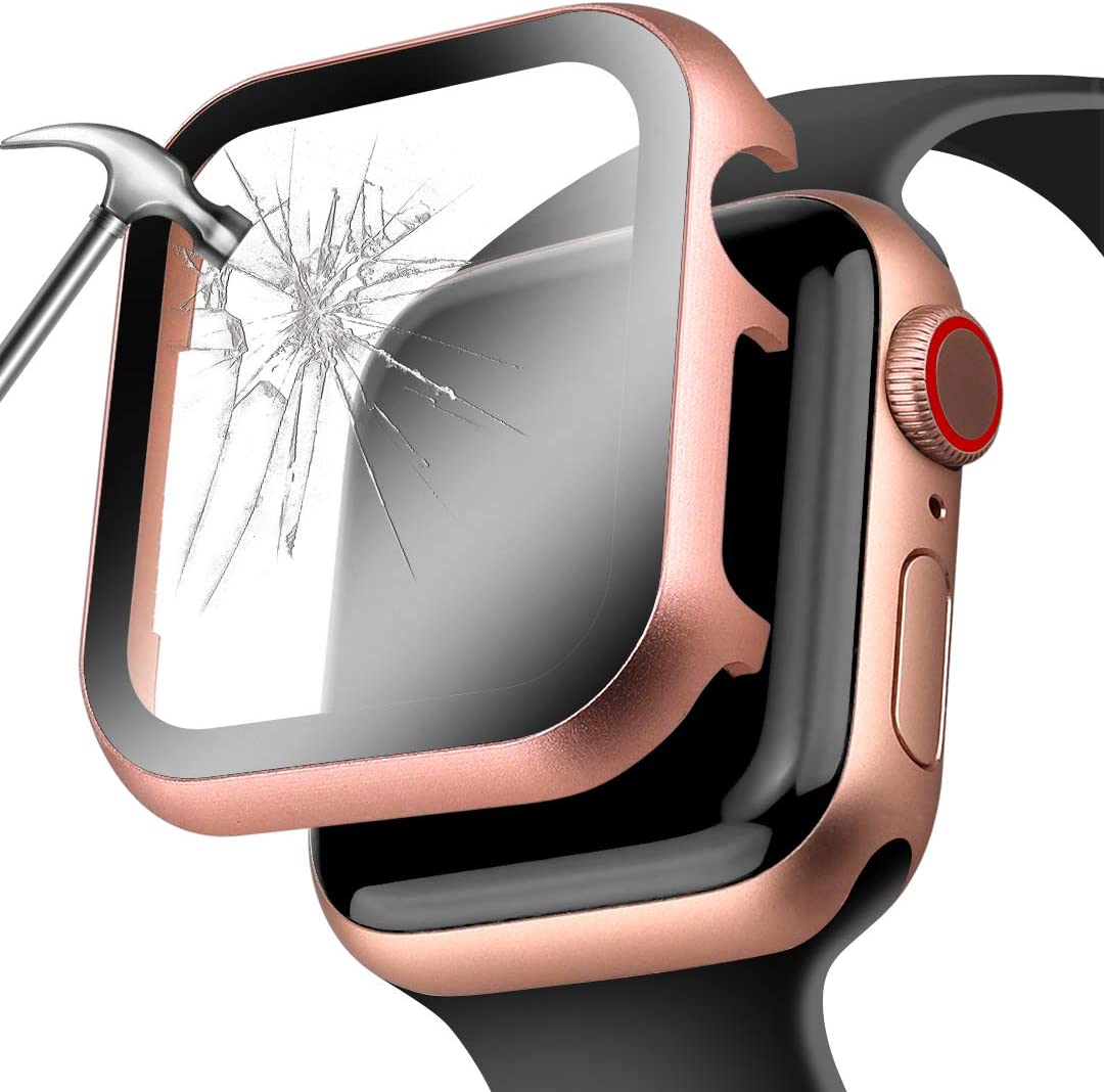 Deeplus for Apple Watch Cover 44mm with Screen Protector Series 5/4, Full Protection Aluminium Metal Apple Watch Case Face Cover Bumper with HD Temper Glass for Iwatch Series 5 4 (Rose Gold, 44 mm)
