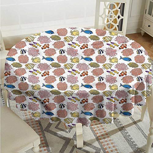 Tim1Beve Aquarium Fashions Table Cloth Tropic Fishes Coral Reef High-end Durable Creative Home D54 ()
