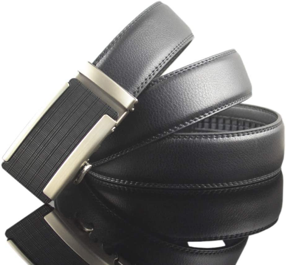DENGDAI Mens Casual Leather Belt zinc Alloy Automatic Buckle Belt Length 110-130cm