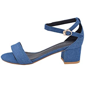 Lovirs Womens Open Toe Ankle Strap Buckle Chunky Heel Denim Sandals Dress Shoes 5 M US