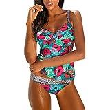 New Women Tankini Set, Turkey Sexy Blouson Floral Sporty Tankini Set Swimwear Two Piece Swimsuit Bikini (Green, L)