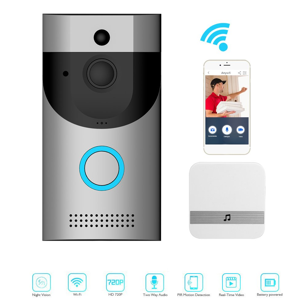 Video Doorbell, Awakingdemi Smart Doorbell 720P HD Wifi Security Camera with Chime, Real-Time Two-Way Talk and Video, Night Vision, PIR Motion Detection and App Control for IOS, Android and Coogle