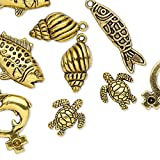 Bead and charm antique gold-finished ''pewter'' (zinc-based alloy) -H20-A2433FN