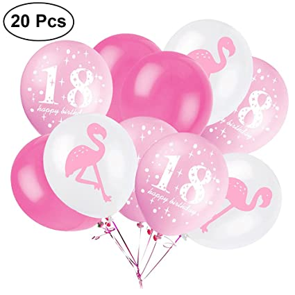 20Pcs 12Inch Latex Rubber Balloons 18th Birthday Party Flamingo Favors Supplies Decorations Pink Amazonin Toys Games