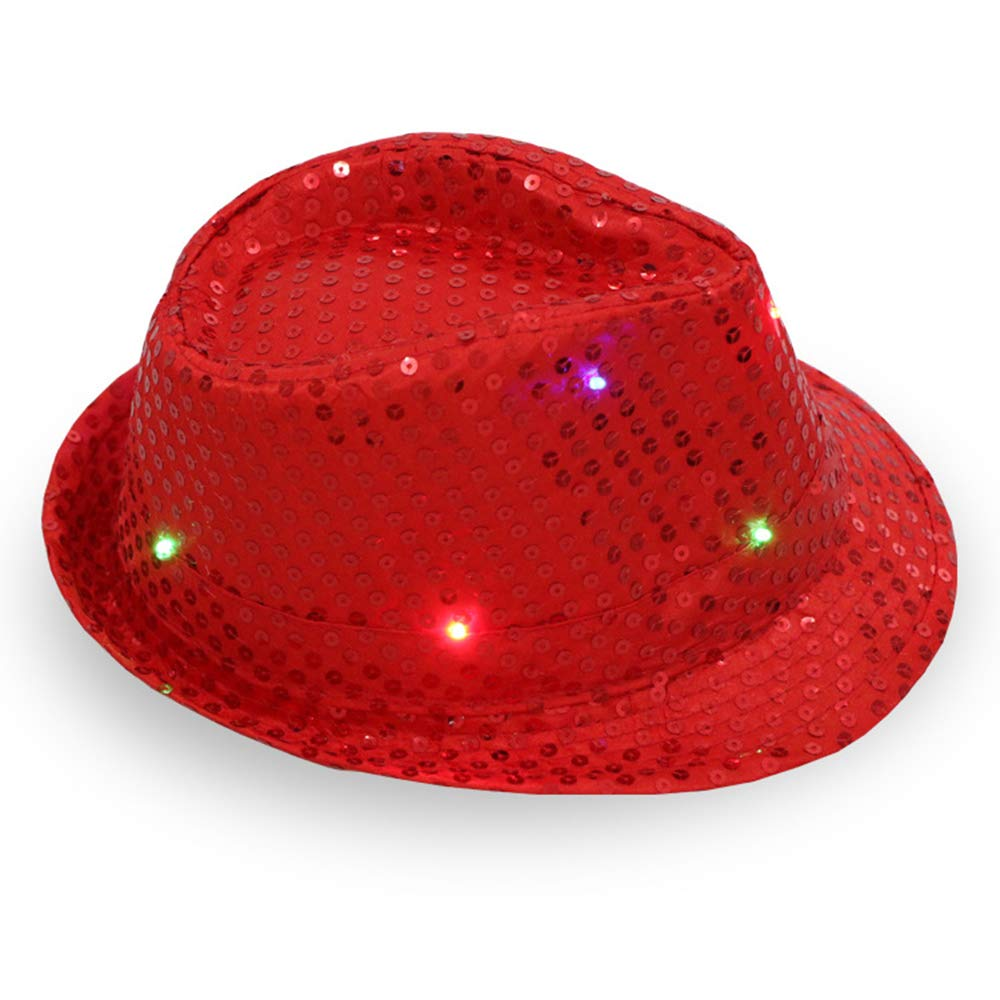 1 Pc LED Light Up Sequin Jazz Hat, Adult Glitter Sequins Light Up Party Cap - Assorted Colors (red)