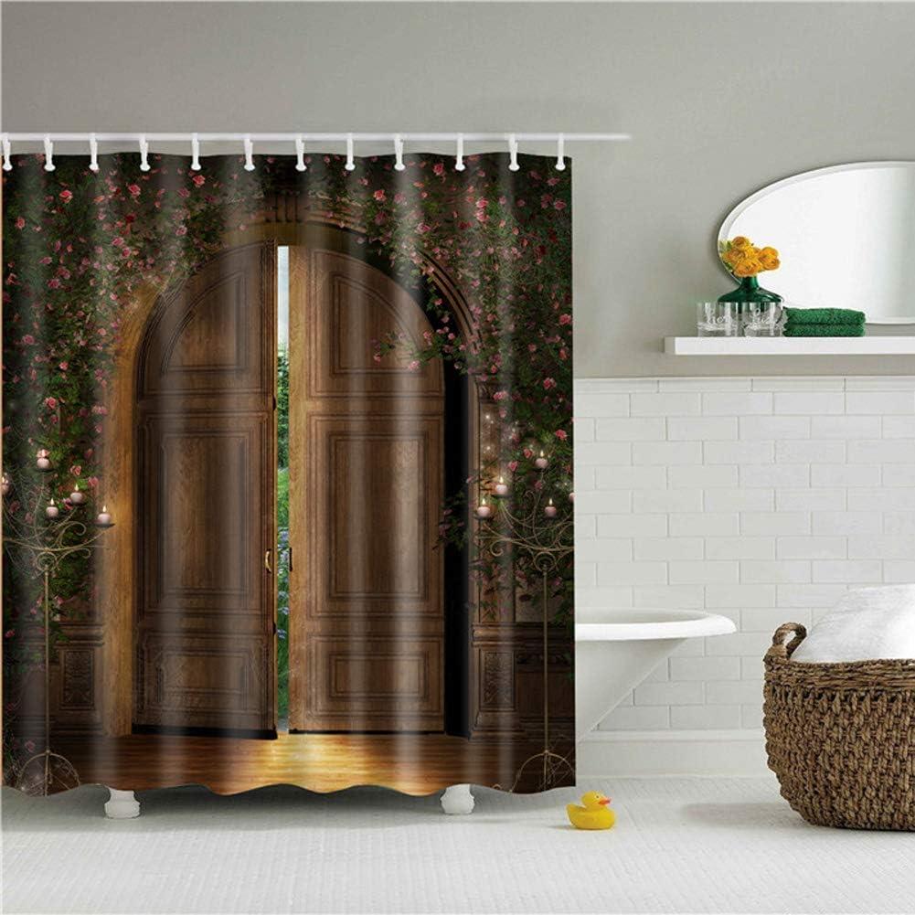 Feidaeu Accesorios de baño Cortina de baño Decoración para el hogar Paisaje Impreso Tela Impermeable Cortinas de baño Mamparas de baño con Ganchos: Amazon.es: Hogar