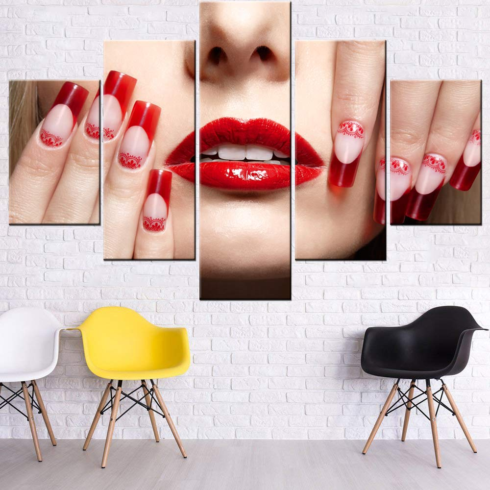 House Decorations Living Room Fingers with Red French Acrylic Nails Pictures Red Lipstick Paintings 5 Panel Prints Wall Art Modern Canvas Artwork Framed Gallery-Wrapped Ready to Hang(60