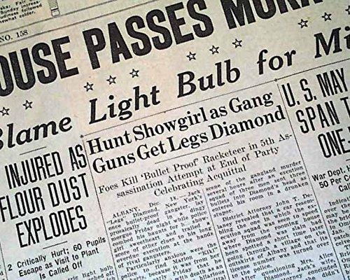 JACK 'LEGS' DIAMOND Gangster Mob Mafia MURDER Prohibition Era 1931 Old Newspaper THE OMAHA BEE-NEWS, Nebraska, Dec. 19, 1931