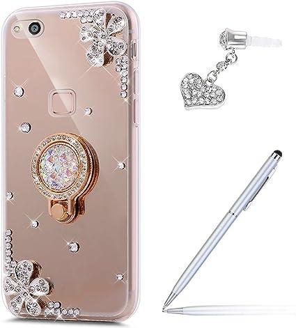 Cover Huawei P10 Lite,ikasus [supporto anello] Fiori Strass diamante glitter Bling Placcatura Mirror specchio Custodia Morbida TPU Silicone Gel ...