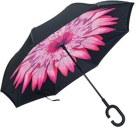 JJPRIME - Paraguas invertido a prueba de viento, de doble capa ...