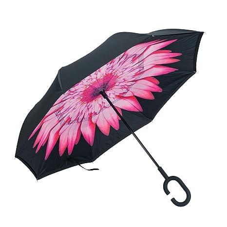 JJPRIME - Paraguas invertido a prueba de viento, de doble capa, invertido y autoestable, de pie, al revés Lluvia, sol de verano Protección UV Paraguas ...