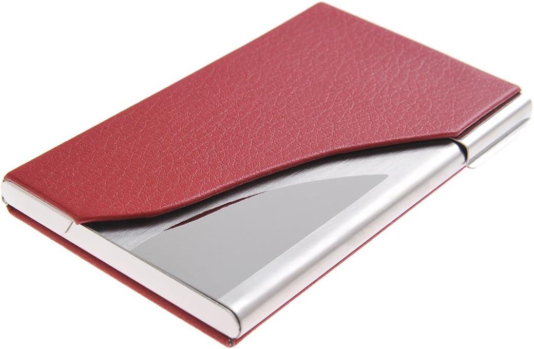 Tarjetero/Estuche para tarjetas de visita, y cuero, para 19-21 tarjetas, de rojo, 398-02: Amazon.es: Oficina y papelería