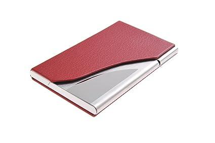 Tarjetero/Estuche para tarjetas de visita, hecho de acero inoxidable de alta calidad y cuero, para 19-21 tarjetas, de rojo, 398-02 (DE)