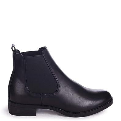 2865db026f5 Linzi Marcela - Black Nappa Classic Chelsea Boot with Elasticated Side  Panels  Amazon.co.uk  Shoes   Bags