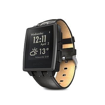 Pebble montre intelligente en acier pour appareils iPhone et Android - Noir mat (Certifié remis