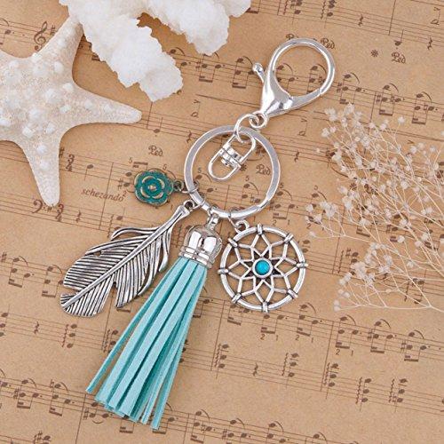 1 Pc Vintage Silver Plated Green Tassel Dreamcatcher Feather Keyring Pendant Men Wrist Wristlet Keys Hook Key Chain Eminent Popular Pocket Teen Bag Car Keychains ()