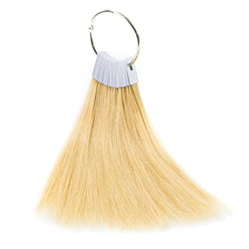 TOFAFA Hair Color Rings 100% Human Hair Swatches Testing Color Samples 9  inch Light Blonde Hair Color