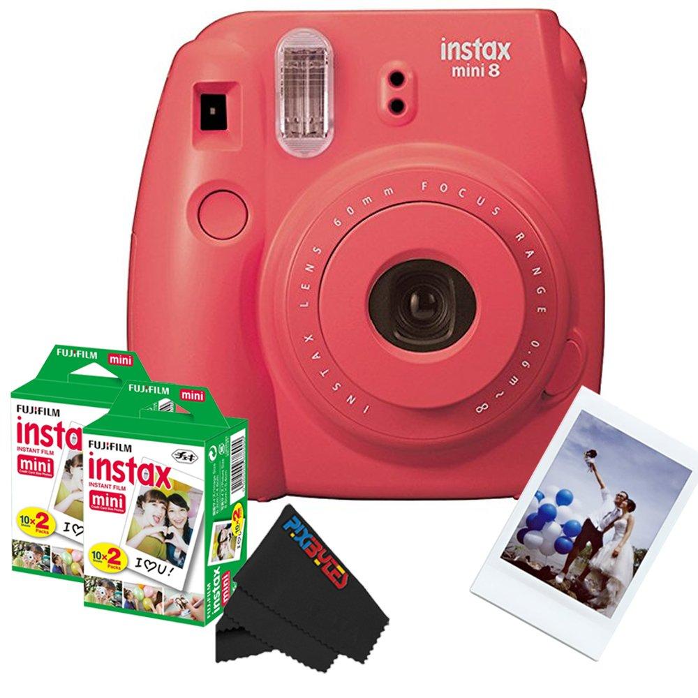 Fujifilm Instax Mini 8 Instant Film Camera (Raspberry) + (2) Fujifilm INSTAX Mini Instant Film (Twin Pack) + PixiBytes Exclusive Cleaning Cloth