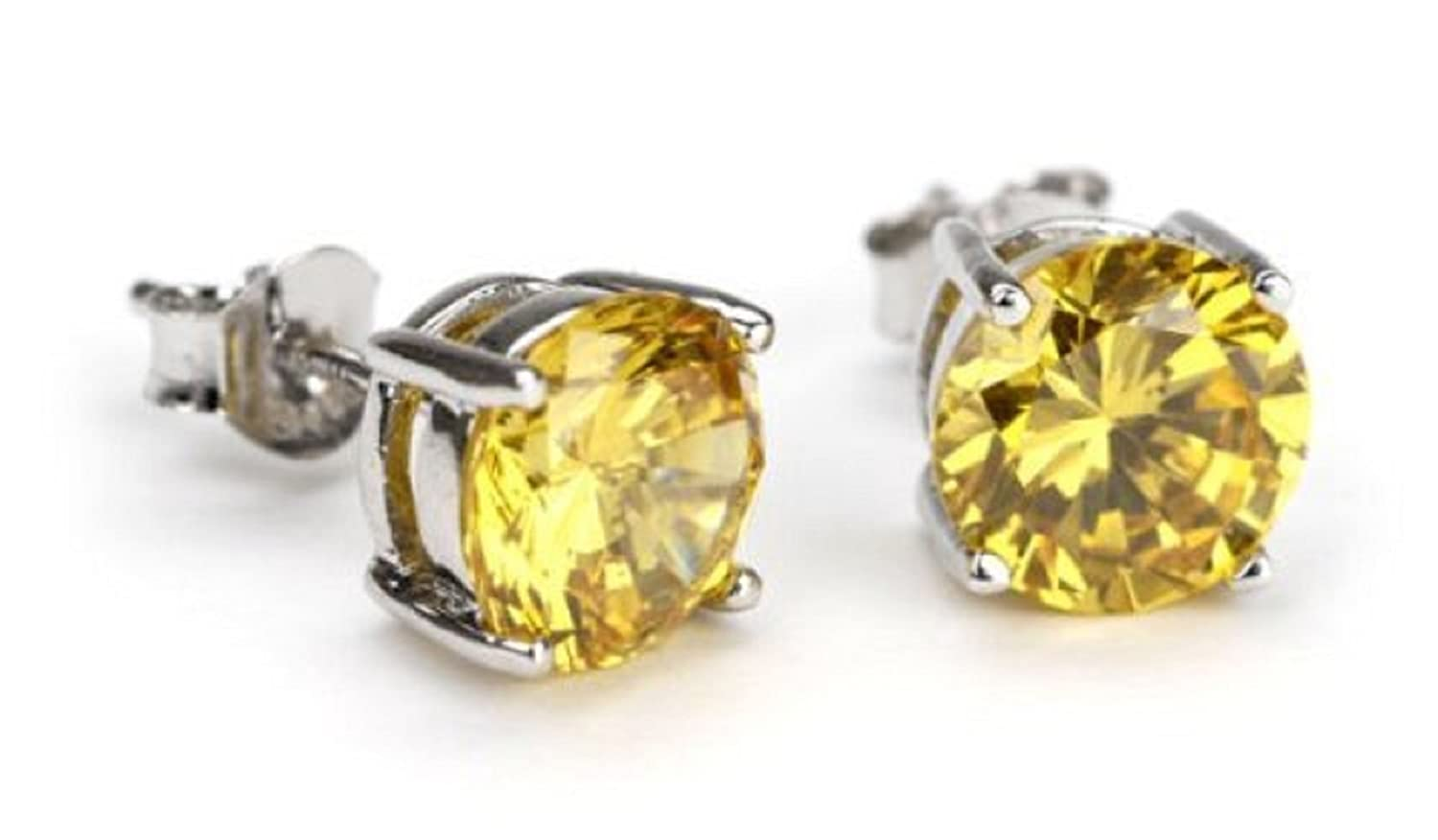 silver for diamond dp com earrings round amazon sterling men zirconia cubic yellow studs jewelry earring colored canary