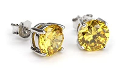 afa01baf2 Image Unavailable. Image not available for. Color: Canary Yellow Round  Studs Earring Cubic Zirconia ...