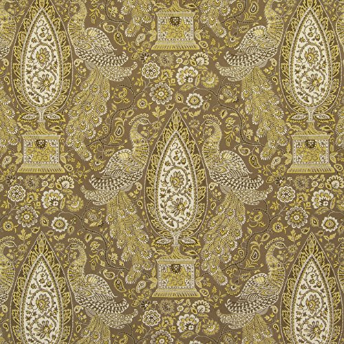 Asian Medallion (Dandelion Gold Floral Animal Asian Medallion Scroll Print Cotton Upholstery Fabric by the yard)