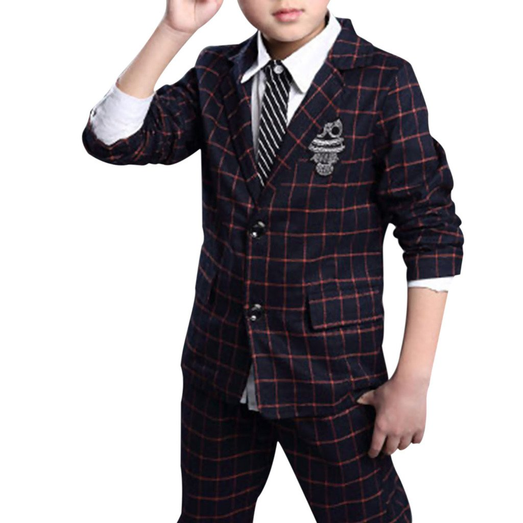 GetUBack Children Boys Plaid Suit Blazer Wedding Clothing