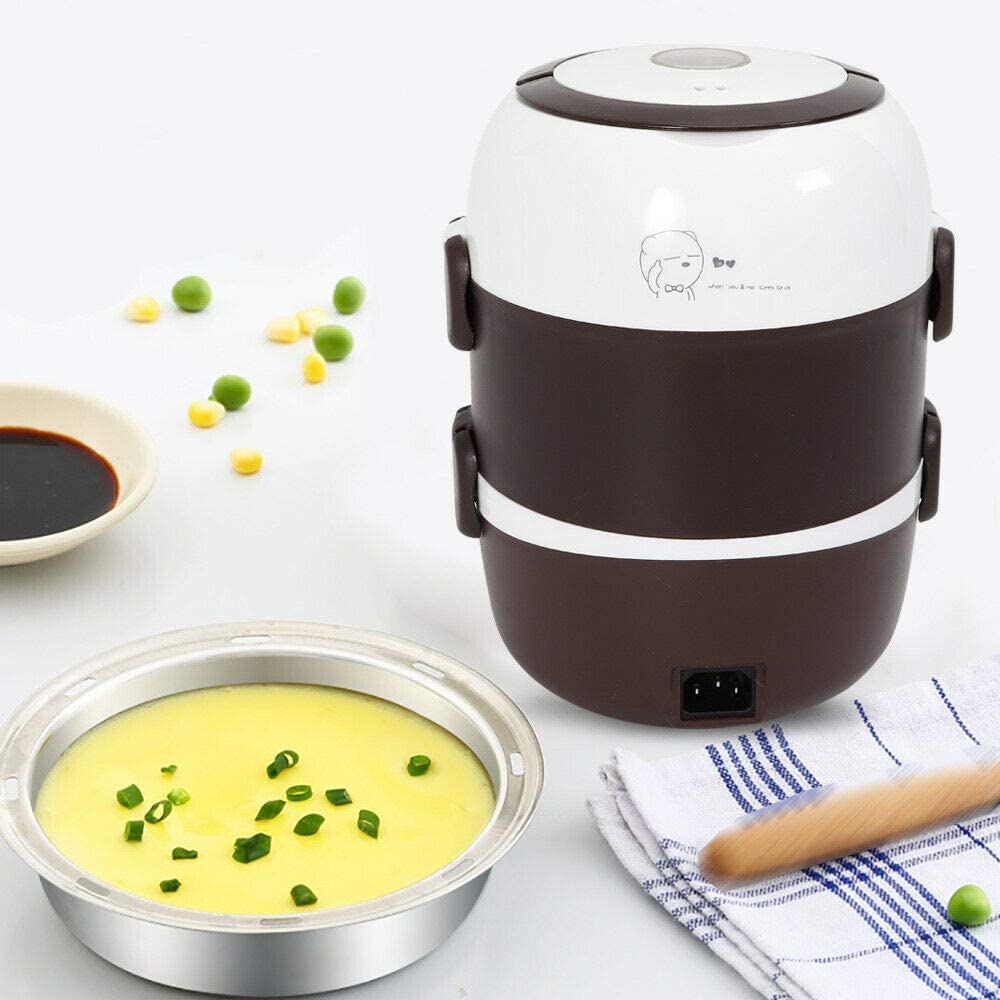 3 Layers 2L Insulated Lunch Box (110V US Plug),Portable Lunch Box Food Warmer Electric Heated Container Rice Cooker Steamer 110V Thermal Pot Stainless Steel Inner Us