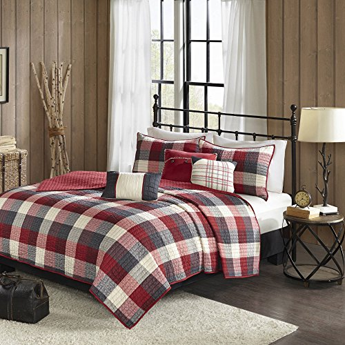 AD 6 Piece Red Grey Plaid King/Cal King Quilt Set, White Che
