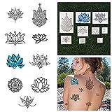 Tattify Assorted Lotus Flower Temporary Tattoos - Body, Mind and Spirit (Set of 18) Long Lasting, Waterproof, Fashionable Fake Tattoos
