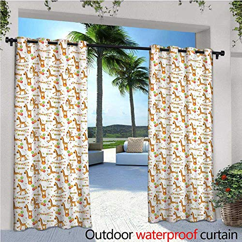 cobeDecor Giraffe Patio Curtains Circus Pattern with Playful Cartoon Characters Colorful Flags Balloons Hula Hoops Outdoor Curtain for Patio,Outdoor Patio Curtains W108 x L108 Multicolor ()
