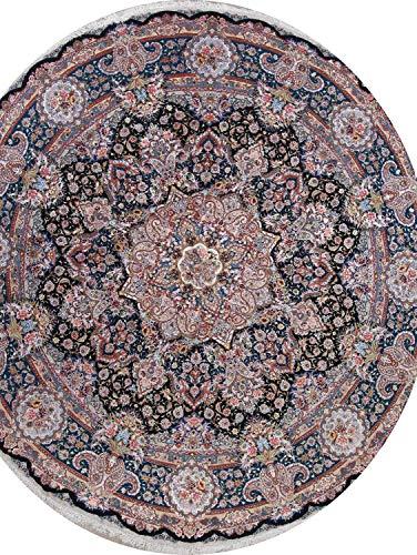 Handmade Masterpiece Palace Size Wool & Silk Tebriz Oriental Round Rug 17×17 Black