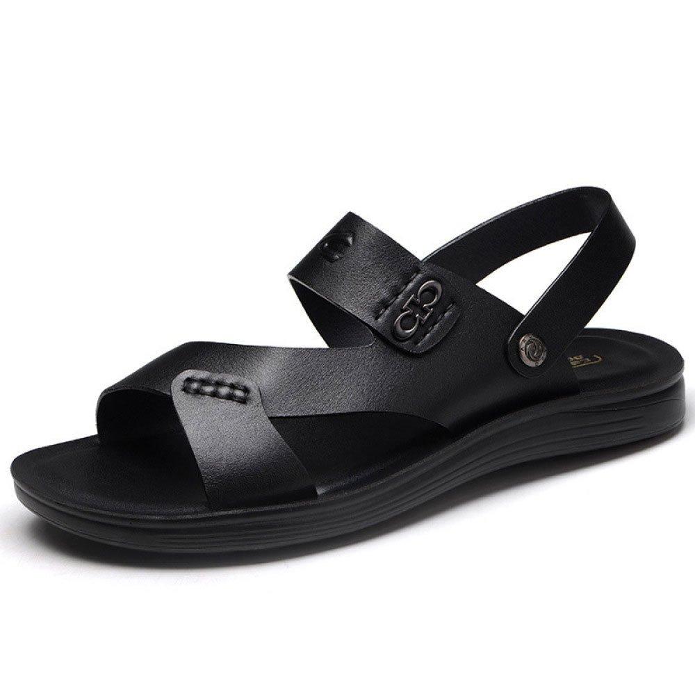 Sandalias De Verano para Hombres Zapatos De Playa Sandalias Y Pantuflas De Cuero Antideslizantes 38 EU|Black