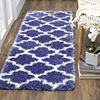 Rectangular Runner Rug in Periwinkle and Ivory