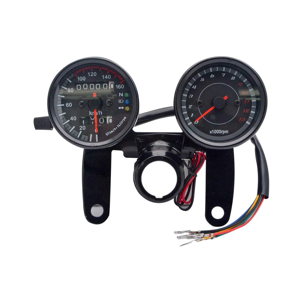 MASO LED Digital Speedometer Dual Motorbike Odometer Gauge Motorcycle Tachometer Oil Level Meter with Blacklight