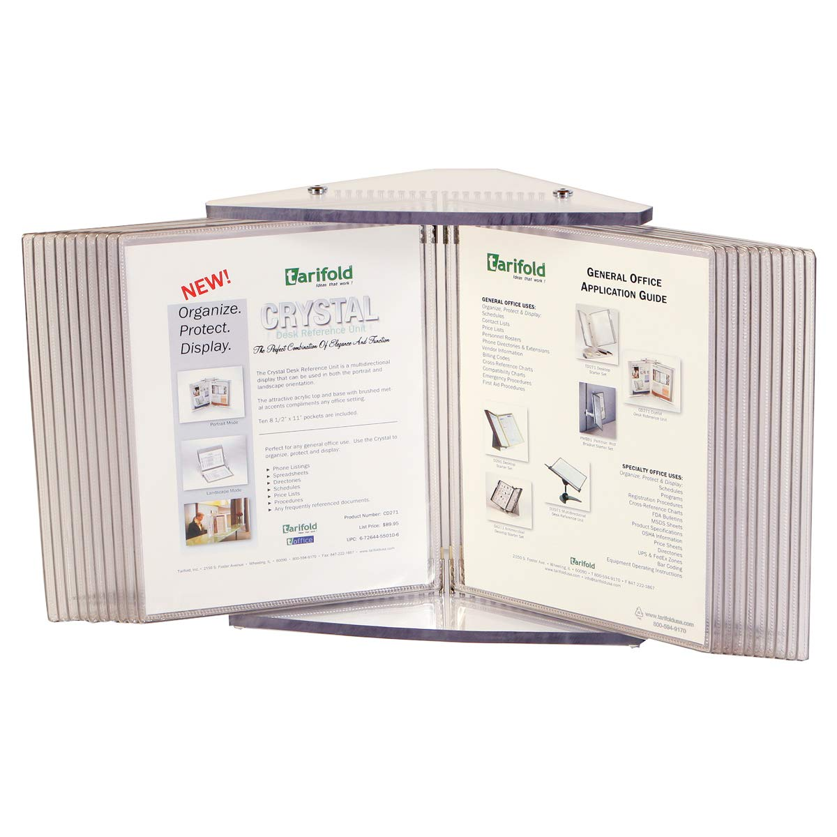 Tarifold, Inc. CD272 Crystal Desk Display Unit With 20 Display Pockets, 40 Sheet Capacity by Tarifold