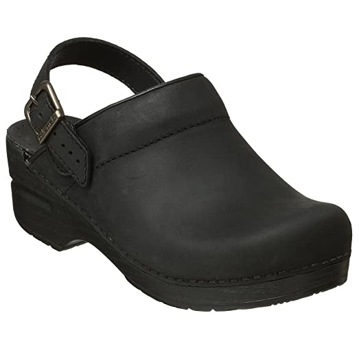 Dansko Womens Black Clogs Ingrid Mules Oiled