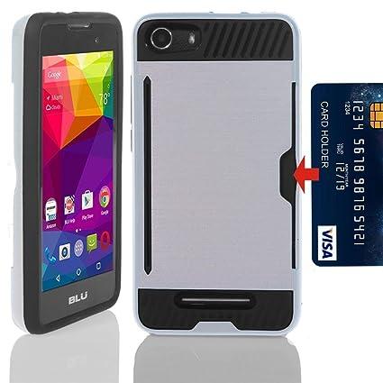 low cost 9fcb8 3be8a BLU Life XL (L050U) Case, High Impact Hybrid Slim Shockproof Protector Case  With Card Holder For BLU Life XL (L050U) -SILVER