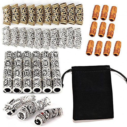 PIAOPIAONIU 57 Pcs/Kit Norse Vikings Beads Hair Tube Beads Dreadlocks for Beards Hair Paracord Pendants & Bracelets DIY
