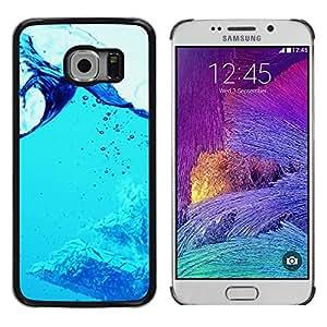 // PHONE CASE GIFT // Duro Estuche protector PC Cáscara Plástico Carcasa Funda Hard Protective Case for Samsung Galaxy S6 EDGE / Blue Water Splash /