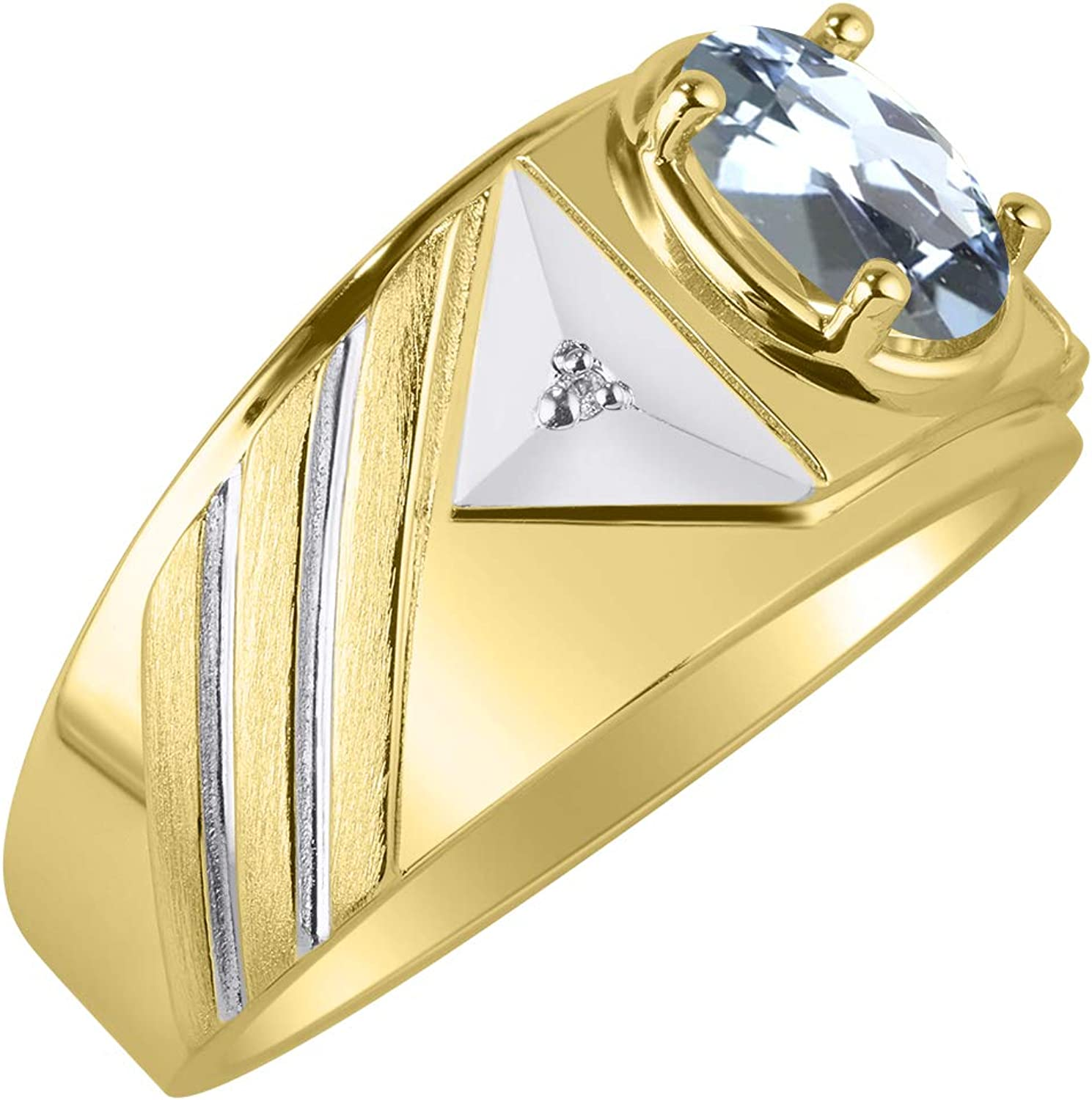 RYLOS Mens Ring with Oval Shape Gemstone /& Genuine Sparkling Diamonds in 14K Yellow Gold Plated Silver .925-8X6MM Color Stone Birthstone