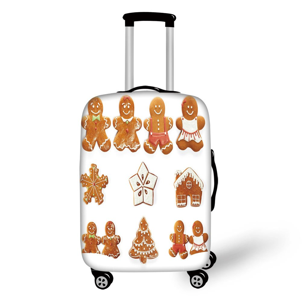 Travel Luggage Cover Suitcase Protector,Gingerbread Man,Vivid Cute Christmas Gingerbread Biscuits Set Snowflake House Tree Decorative,Light Brown White,for Travel