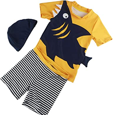 for Kids Toddler Baby Boys Two Piece Swimsuits Rash Guard Short Sleeve Shark Bathing Suit Swimwear Sets with Hat UPF 50