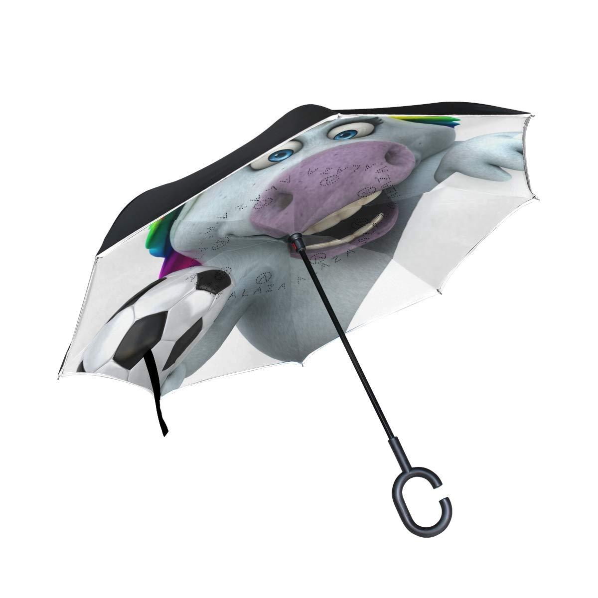 senya Saobao Double Layer Inverted Umbrella Fun Unicorn Reverse Folding Umbrella Windproof UV Rain for Outdoor with C-Shaped Handle